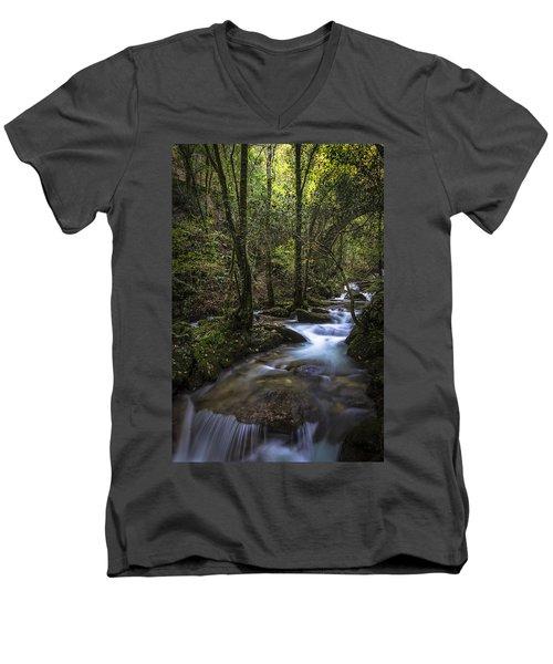 Men's V-Neck T-Shirt featuring the photograph Sesin Stream Near Caaveiro by Pablo Avanzini