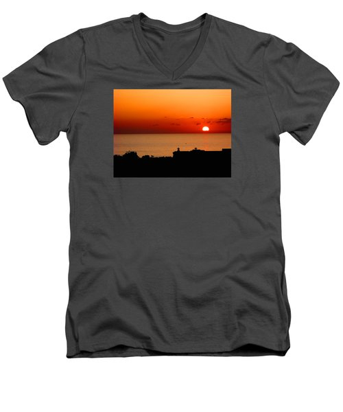 Set Into The Sea Men's V-Neck T-Shirt by Scott Carruthers