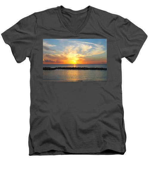 Seven Mile Sunset Over Grand Cayman Men's V-Neck T-Shirt by Amy McDaniel