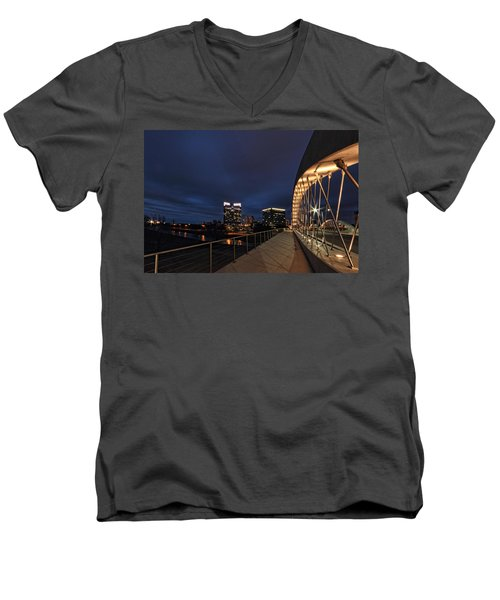 Seventh Avenue Bridge Fort Worth Men's V-Neck T-Shirt by Jonathan Davison