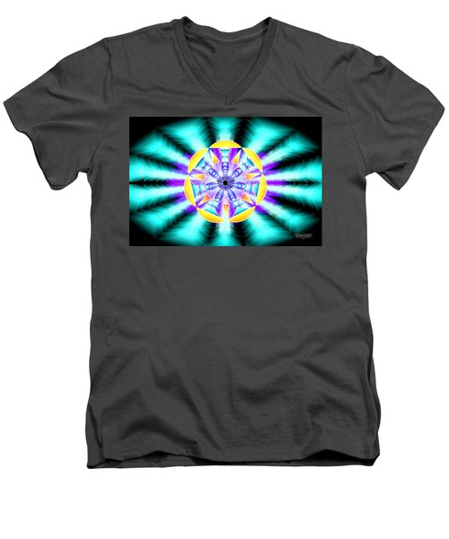Men's V-Neck T-Shirt featuring the drawing Seventh Ray Of Consciousness by Derek Gedney