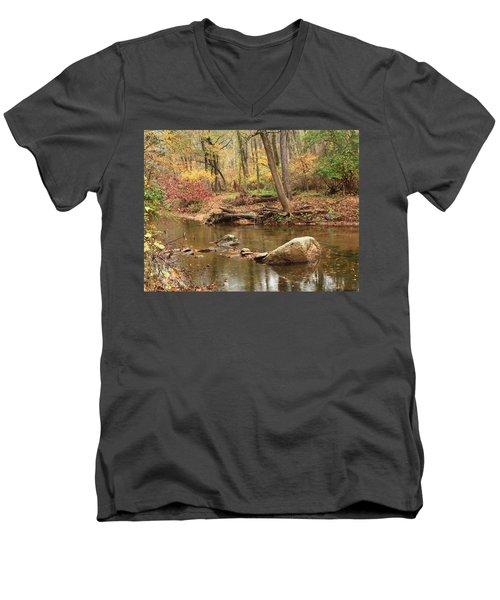 Men's V-Neck T-Shirt featuring the photograph Shades Of Fall In Ridley Park by Patrice Zinck