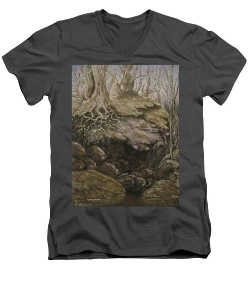 Men's V-Neck T-Shirt featuring the painting Shades Of Froud by Megan Walsh
