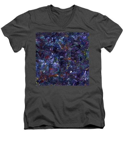 Men's V-Neck T-Shirt featuring the painting Shadow Blue Square by James W Johnson