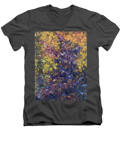 Men's V-Neck T-Shirt featuring the painting Shadow Dance by James W Johnson