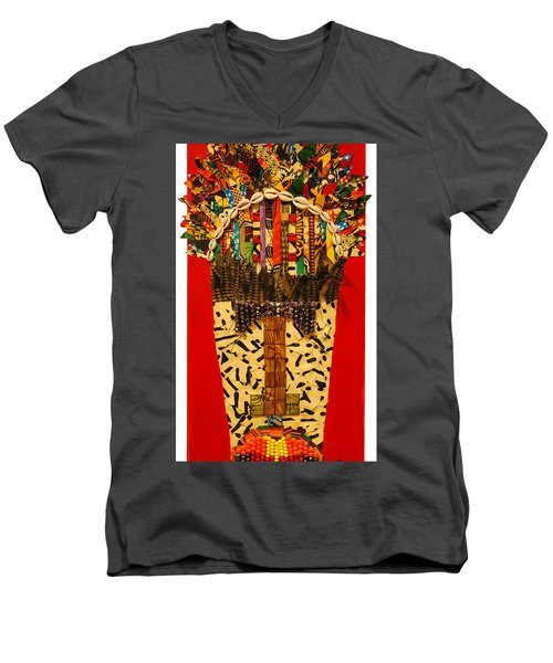Men's V-Neck T-Shirt featuring the tapestry - textile Shaka Zulu by Apanaki Temitayo M