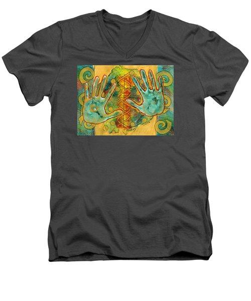 Shape Of Things Men's V-Neck T-Shirt by Lynda Hoffman-Snodgrass