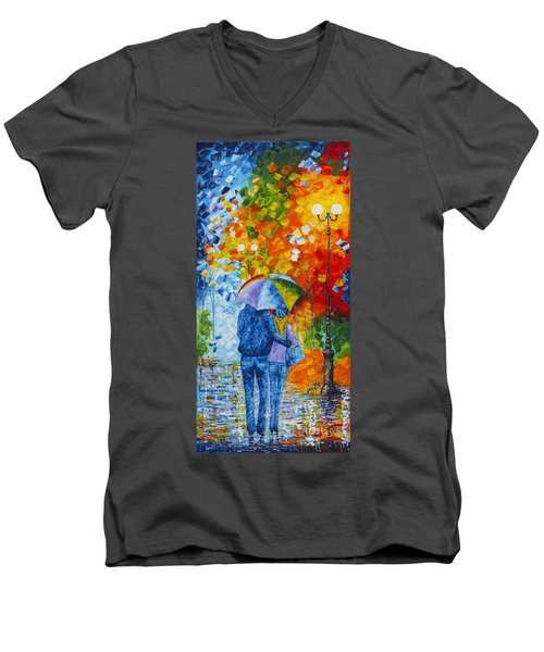 Men's V-Neck T-Shirt featuring the painting Sharing Love On A Rainy Evening Original Palette Knife Painting by Georgeta Blanaru