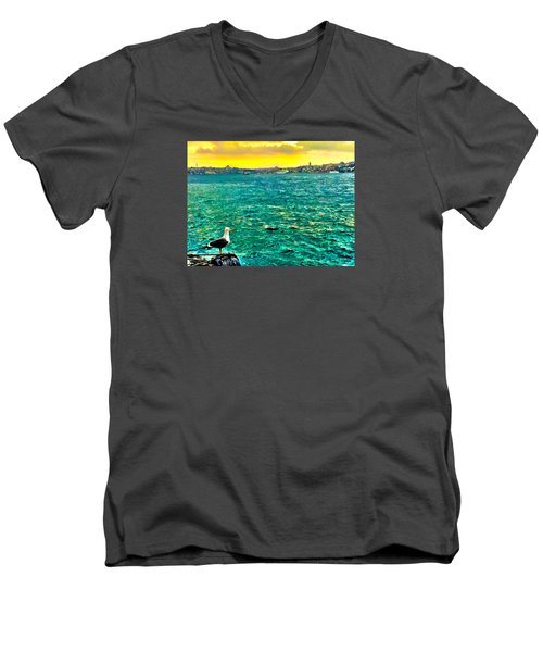 Men's V-Neck T-Shirt featuring the photograph She Is Late Again  by Zafer Gurel