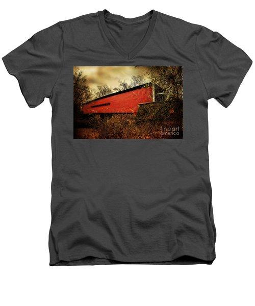 Sheeder Hall Covered Bridge 2 Men's V-Neck T-Shirt