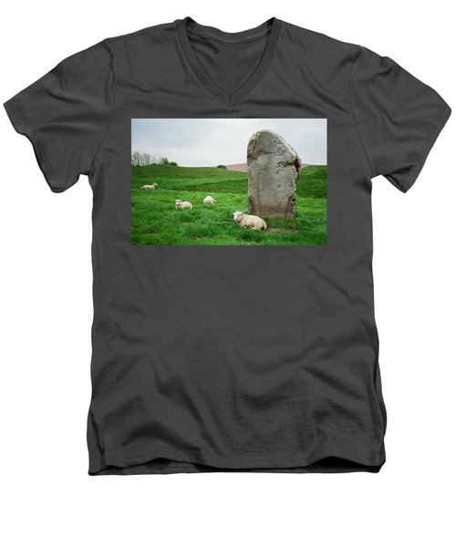 Sheep At Avebury Stones - Original Men's V-Neck T-Shirt by Marilyn Wilson