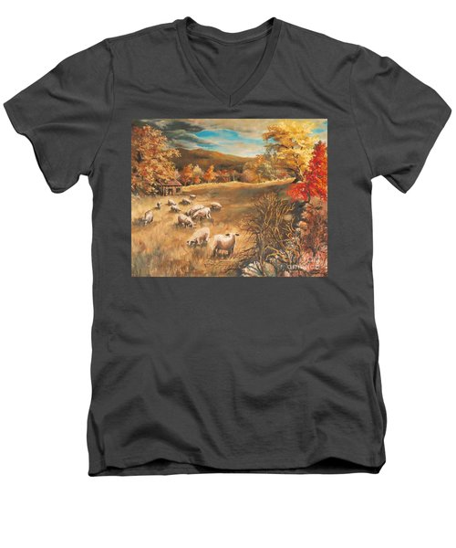 Sheep In October's Field Men's V-Neck T-Shirt by Joy Nichols