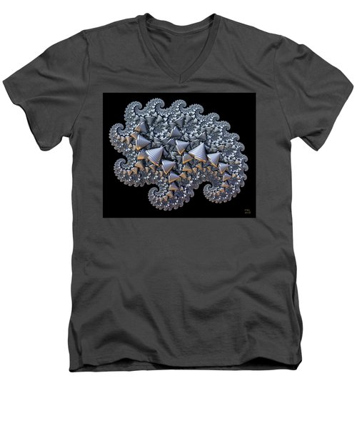 Men's V-Neck T-Shirt featuring the digital art Shell Amoeba by Manny Lorenzo