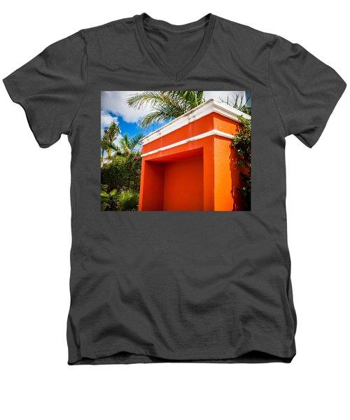 Shelter Orange Men's V-Neck T-Shirt by Melinda Ledsome