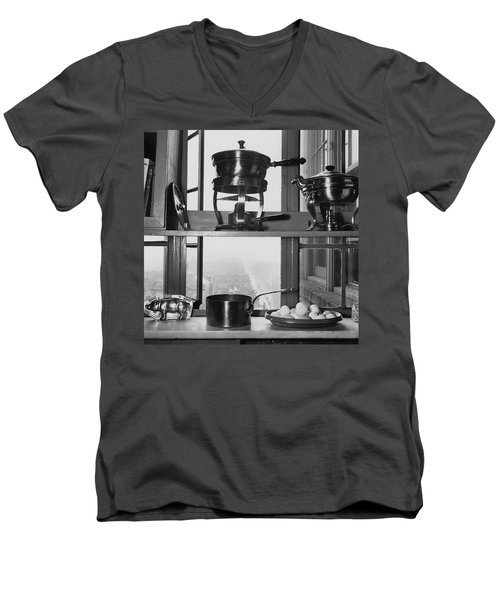 Shelves In Front Of A Window In Vivian Roome's Men's V-Neck T-Shirt