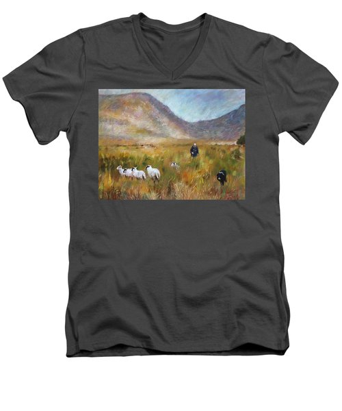 Men's V-Neck T-Shirt featuring the drawing Shepherd And Sheep In The Valley  by Viola El