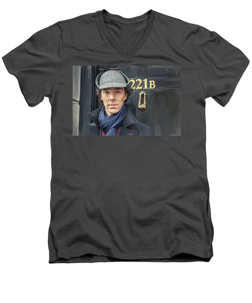 Men's V-Neck T-Shirt featuring the painting Sherlock Holmes Artwork by Sheraz A