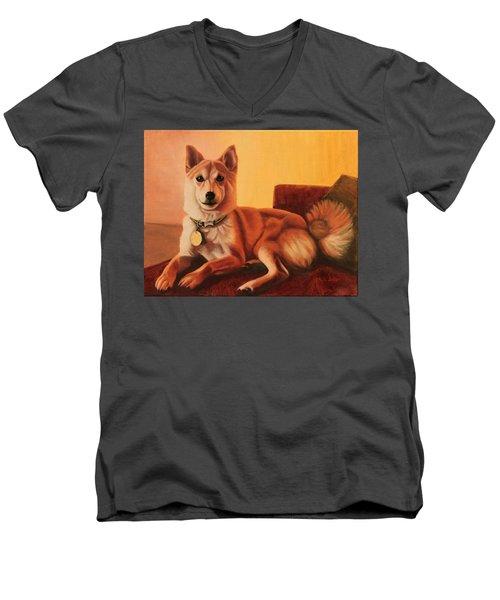 Shiba Inu Portrait Men's V-Neck T-Shirt
