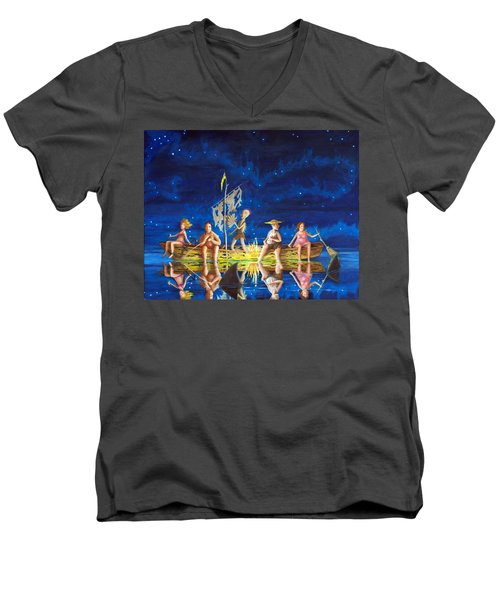 Ship Of Fools Men's V-Neck T-Shirt by Matt Konar