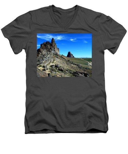 Men's V-Neck T-Shirt featuring the photograph Shiprock by Alan Socolik