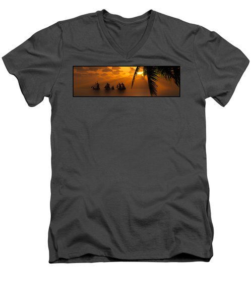 Ships And The Golden Dawn... Men's V-Neck T-Shirt