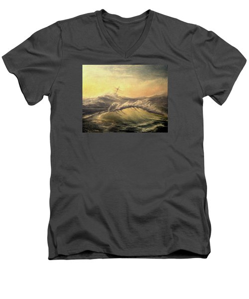 Men's V-Neck T-Shirt featuring the painting Shivering Beauty Of Storm by Mikhail Savchenko