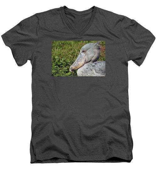 Men's V-Neck T-Shirt featuring the photograph Shoebill Balaeniceps Rex by Liz Leyden