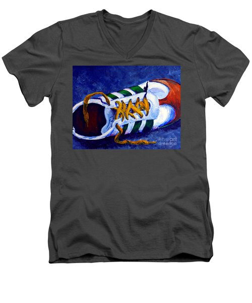 Men's V-Neck T-Shirt featuring the painting Shoeless by Jackie Carpenter