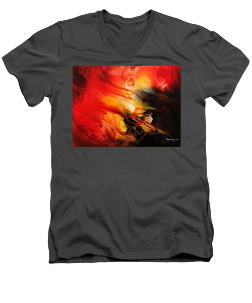 Men's V-Neck T-Shirt featuring the painting Shooting Star by Kume Bryant