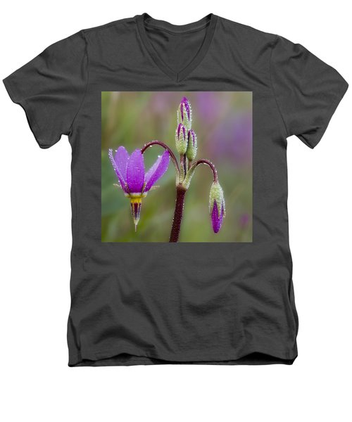 Men's V-Neck T-Shirt featuring the photograph Shooting Stars Square by Sonya Lang