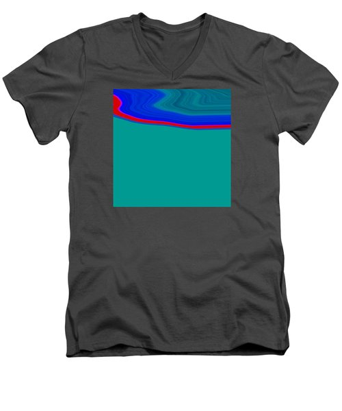 Men's V-Neck T-Shirt featuring the painting Shoreline II C2014 by Paul Ashby