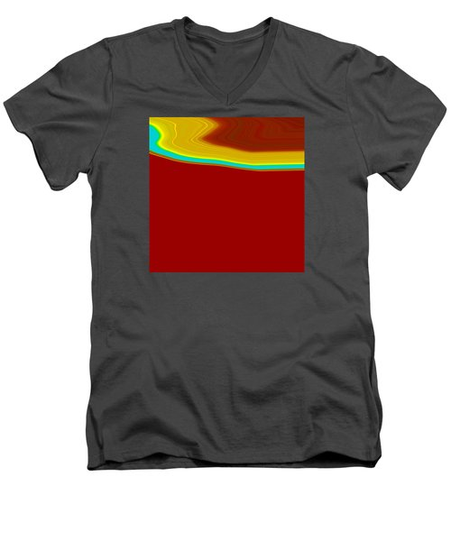 Men's V-Neck T-Shirt featuring the painting Shoreline IIi  C2014 by Paul Ashby
