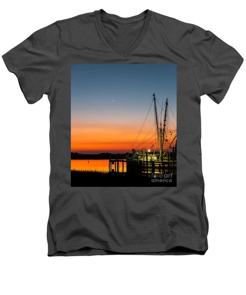 Men's V-Neck T-Shirt featuring the photograph Shrimp Boat At Dusk Folly Beach by Donnie Whitaker