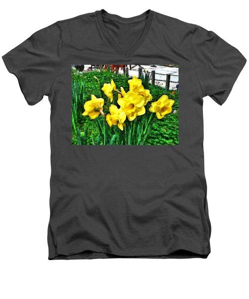 Shy Daffodils  Men's V-Neck T-Shirt