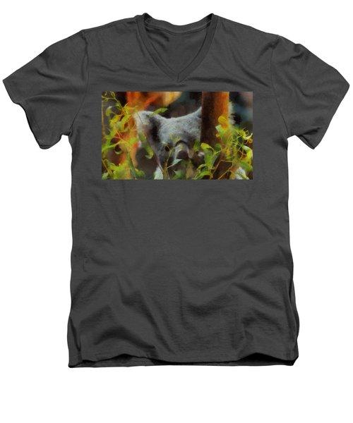 Shy Koala Men's V-Neck T-Shirt by Dan Sproul