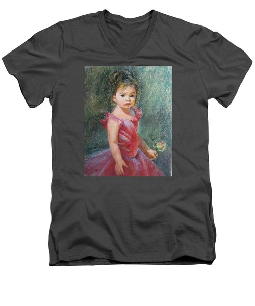 Men's V-Neck T-Shirt featuring the painting Shy Rose by Jieming Wang