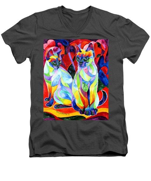 Siamese Sweethearts Men's V-Neck T-Shirt by Sherry Shipley