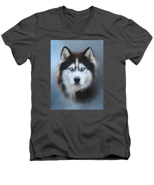 Siberian Husky Men's V-Neck T-Shirt by Lena Auxier