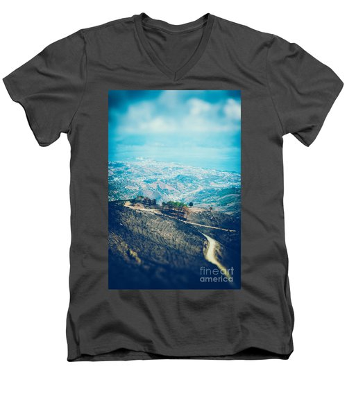 Men's V-Neck T-Shirt featuring the photograph Sicilian Land After Fire by Silvia Ganora