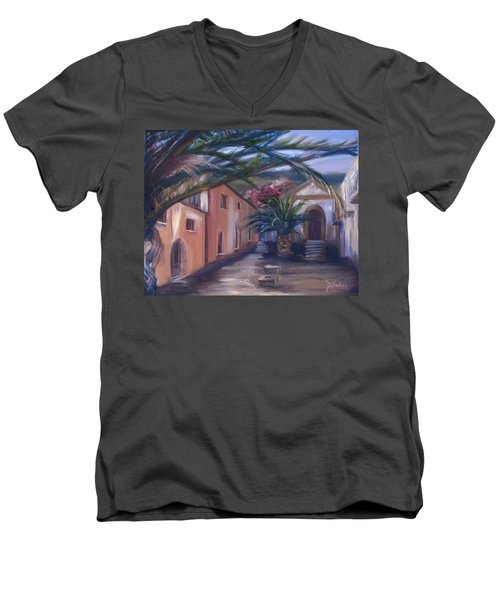 Men's V-Neck T-Shirt featuring the painting Sicilian Nunnery II by Donna Tuten