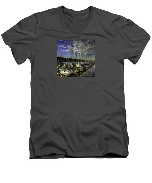 Side By Side Men's V-Neck T-Shirt by Jean OKeeffe Macro Abundance Art