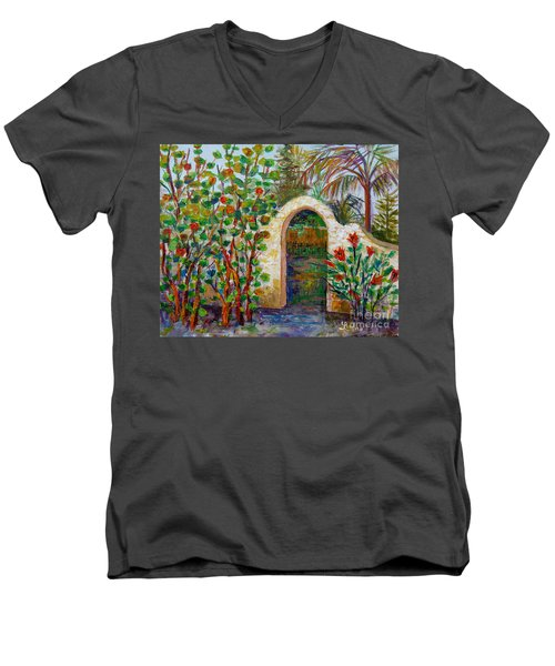 Men's V-Neck T-Shirt featuring the painting Siesta Key Archway by Lou Ann Bagnall