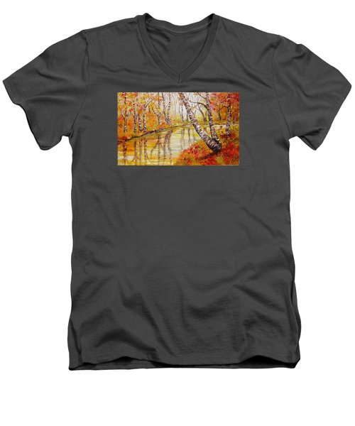 Men's V-Neck T-Shirt featuring the painting Silence by Nina Mitkova