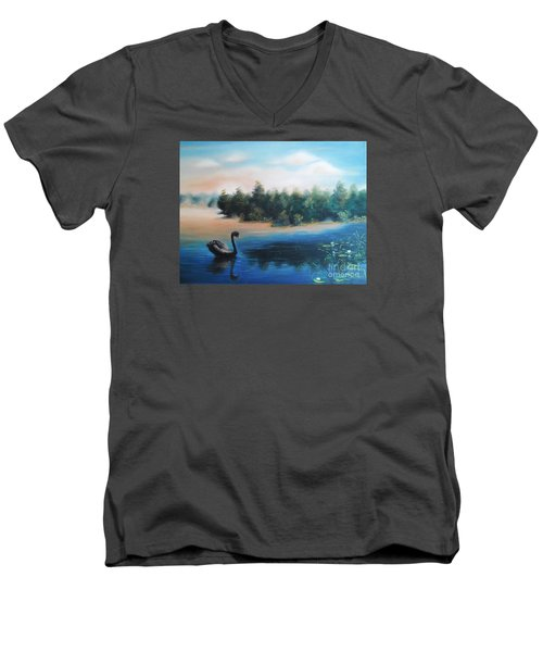 Men's V-Neck T-Shirt featuring the painting Silence by Vesna Martinjak