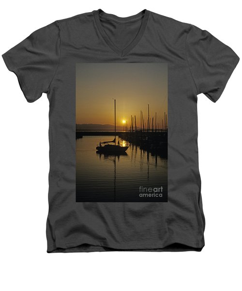 Silhouetted Man On Sailboat Men's V-Neck T-Shirt
