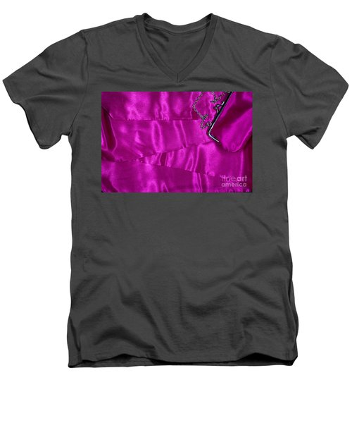 Men's V-Neck T-Shirt featuring the photograph Silk Background With Purse by Gunter Nezhoda