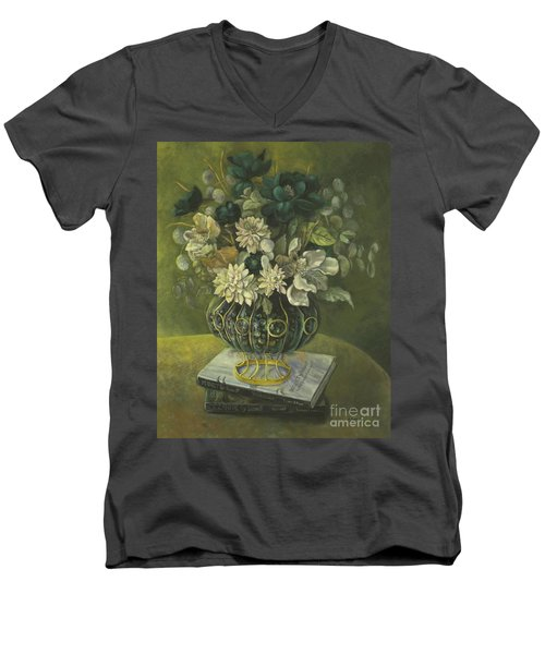 Silk Floral Arrangement Men's V-Neck T-Shirt by Marlene Book