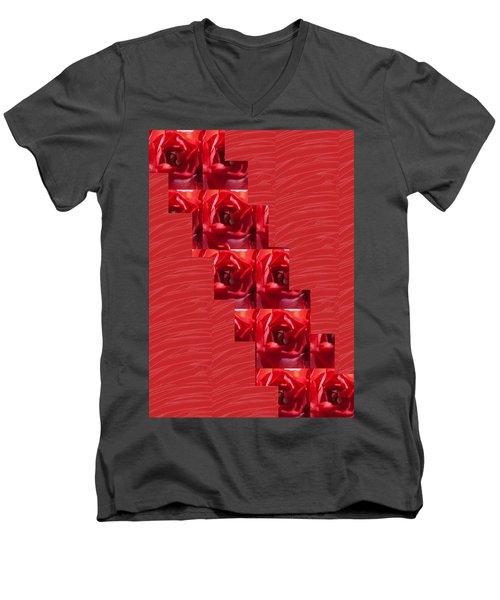 Men's V-Neck T-Shirt featuring the photograph Silken Red Sparkles Redrose Across by Navin Joshi