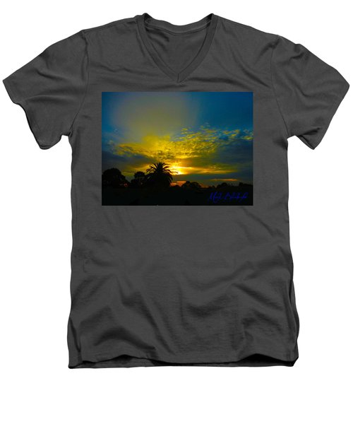 Silken Sunset Men's V-Neck T-Shirt by Mark Blauhoefer