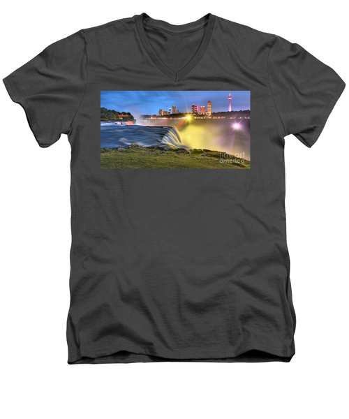 Silky Niagara Falls Panoramic Sunset Men's V-Neck T-Shirt by Adam Jewell